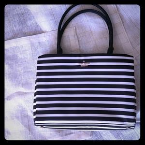Black and white striped Kate Spade bag